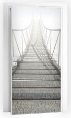 Naklejka na drzwi - Rope Bridge Above The Clouds