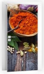 Naklejka na drzwi - Spices and herbs
