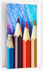 Naklejka na drzwi - Colored pencils background