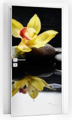 Naklejka na drzwi - still life with three orchid on pebble