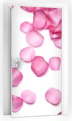 Naklejka na drzwi - Petals of pink rose