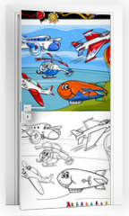Naklejka na drzwi - planes and aircraft cartoon coloring book