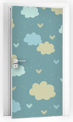 Naklejka na drzwi - Seamless pattern with clouds