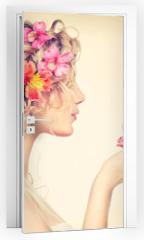 Naklejka na drzwi - Beauty girl takes beautiful flowers in her hands