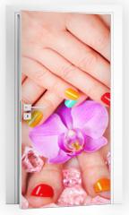 Naklejka na drzwi - Beautiful manicure and pedicure