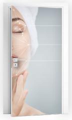 Naklejka na drzwi - applying cosmetic cream
