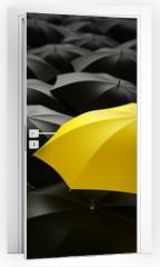 Naklejka na drzwi - yellow umbrella