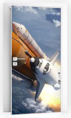 Naklejka na drzwi - Space Shuttle Flying Over The Clouds