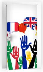 Naklejka na drzwi - mains bulles : apprendre les langues étrangères