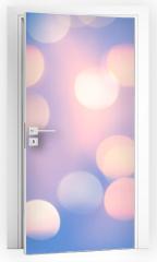 Naklejka na drzwi - Blurred Blue Pastel Color Lights. Bright festive background