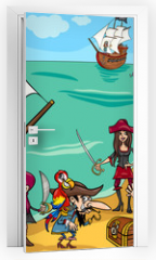Naklejka na drzwi - pirates with ship cartoon