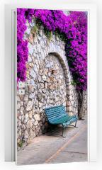 Naklejka na drzwi -  Tętniąca życiem ścieżka kwiatowa w Capri, Włochy