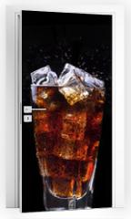 Naklejka na drzwi - alcohol drinks set isolated on a black