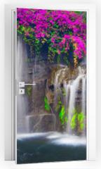 Naklejka na drzwi - Beautiful Lush Waterfall