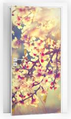 Naklejka na drzwi - Beautiful nature scene with blooming tree and sun flare