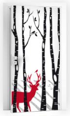 Naklejka na drzwi - birch trees with christmas deers, vector
