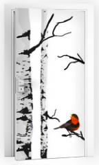 Naklejka na drzwi - Bird of birches, vector drawing with editable elements.
