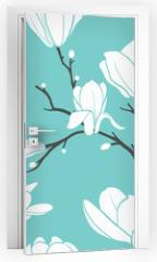 Naklejka na drzwi - blue magnolia pattern