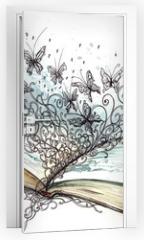 Naklejka na drzwi - book with butterflies (Cbm painting)