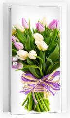 Naklejka na drzwi - bouquet of tulips isolated on white