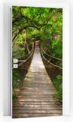 Naklejka na drzwi - Bridge to the jungle,Khao Yai national park,Thailand