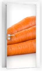 Naklejka na drzwi - Carrot. Heap of vegetable isolated on white