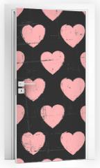 Naklejka na drzwi - Chalkboard Hearts Pattern