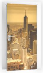 Naklejka na drzwi - Chicago Skyline Aerial View