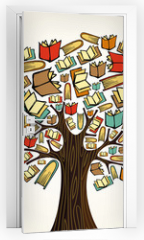 Naklejka na drzwi - Education concept tree with books