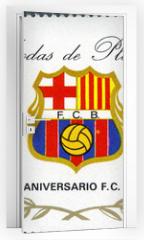 Naklejka na drzwi - EQUATORIAL GUINEA - 1974: shows label of Barcelona Soccer Team