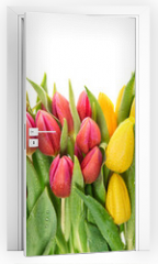 Naklejka na drzwi - Fresh spring tulip flowers water drops Floral banner