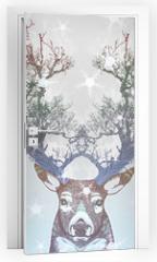 Naklejka na drzwi - Frozen tree horn deer