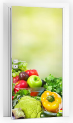 Naklejka na drzwi - Fruits and vegetables.