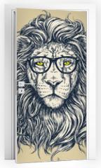 Naklejka na drzwi - Hipster lion vector illustration. Glasses separated.