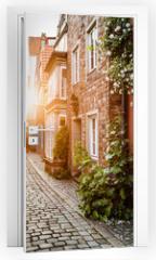 Naklejka na drzwi - Historic Schnoorviertel at sunset in Bremen, Germany