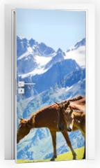 Naklejka na drzwi - Horse in mountains