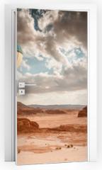 Naklejka na drzwi - Hot Air Balloon travel over desert