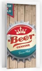 Naklejka na drzwi - illustration of vintage beer bottle cap with wooden background
