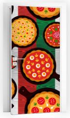 Naklejka na drzwi - Italian pizza flavors pattern
