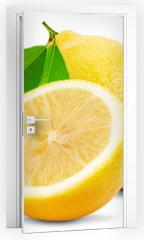 Naklejka na drzwi - juicy lemons isolated on the white background