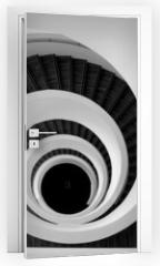 Naklejka na drzwi - Modern spiral stairs detail