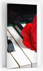 Naklejka na drzwi - piano keyboard and rose