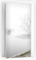 Naklejka na drzwi - Pier and white birch trees on foggy lake