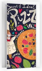 Naklejka na drzwi - Pizza design menu with chef