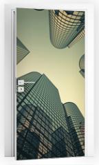 Naklejka na drzwi - Reflective skyscrapers, business office buildings.
