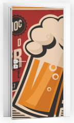 Naklejka na drzwi - Retro beer vector poster