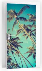 Naklejka na drzwi - Retro Diagonal Palm Trees In Hawaii