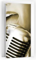 Naklejka na drzwi - retro singer