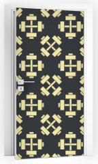 Naklejka na drzwi - Retro vector gym seamless pattern
