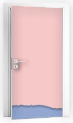 Naklejka na drzwi - Rip paper. Rose quarts and serenity colors. Vector illustration.